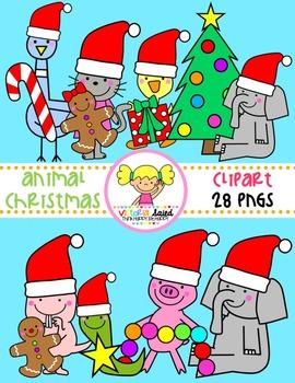 Animal Friends Christmas Clipart