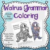 Parts of Speech Grammar Coloring Animals Walrus