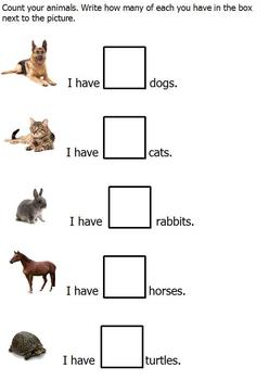 Animal Graphing With Pictures; Simple Cut & Paste; more/less modified curriculum