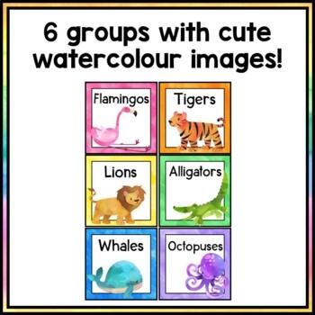 Animal Group Labels - Rainbow Watercolor Decor