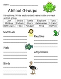 Animal Group Worksheet