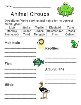 animal group worksheet by stephanie pope teachers pay teachers. Black Bedroom Furniture Sets. Home Design Ideas