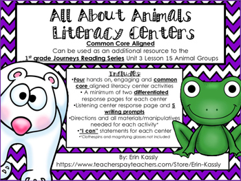 Animal Groups Common Core Literacy Centers- 1st Grade Journeys Lesson 15