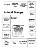 """Animal Groups"" Comprehension Game Board- Journeys story 1st grade"