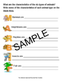 Animal Groups Cut and Paste, Characteristics Fill-in Sheet