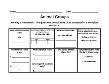 Animal Groups Journey Common Core