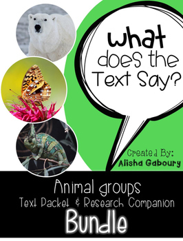 Animal Groups Non Fiction Reading and Research Bundle