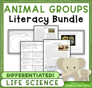 Animal Groups: Science and Literacy BUNDLE (NGSS 3-LS2-1)