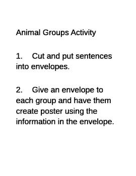 Animal Groups Sorting Activity