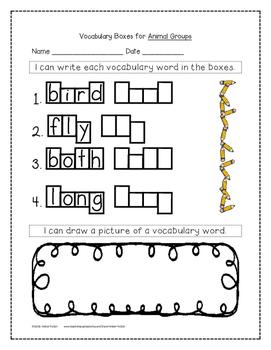 Animal Groups Supplemental Activities 1st Grade Journeys Unit 3, Lesson 15