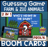Animal Guessing Game BOOM Cards! Farm & Zoo! Prek/k (2 in 1)
