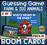 Animal Guessing Game BOOM Cards! Farm & Zoo! Prek/k (2 in 1)
