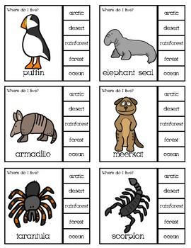 Animal Habitat Clip Cards
