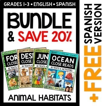 Close Reading Passages - Animal Habitats Bundle