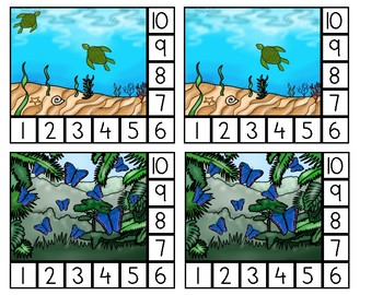 Animal Habitat Counting Clip Cards: 1-10