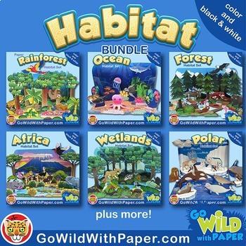 Animal Habitat Diorama Project BUNDLE   Animal Craft Activities