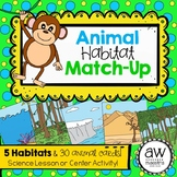 Animal Habitat Match-Up Game & Center Activity