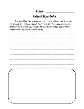 Animal Habitat Writing