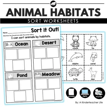 animal habitats sort by a kinderteacher life teachers pay teachers. Black Bedroom Furniture Sets. Home Design Ideas