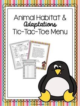 Animal Habitats & Adaptations Choice Board (Editable)