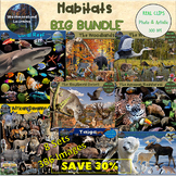 Animal Habitats &  Biomes Clip Art BUNDLE 284 Digital Stickers