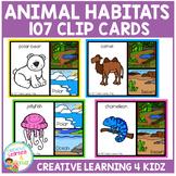 Animal Habitats Clip Cards