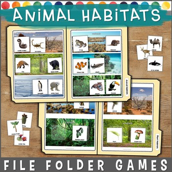 Animal Habitats File Folder Games