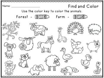 Animal Habitats For Kindergarten | Animal Sorting Picture Activities