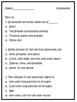 Animal Habitats: Grasslands