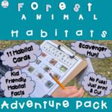 Forest Animal Habitats Scavenger Hunt and Information Cards