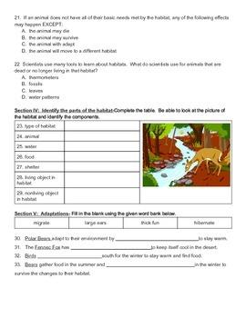 Animal Habitats Science Unit Test