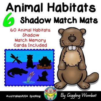 Animal Habitats Shadow Match Mats