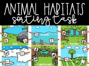 Animal Habitats Sorting Clothespin Task