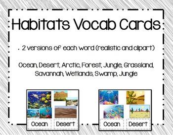 Animal Habitats Vocabulary Cards