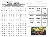 Animal Habitats Word Search
