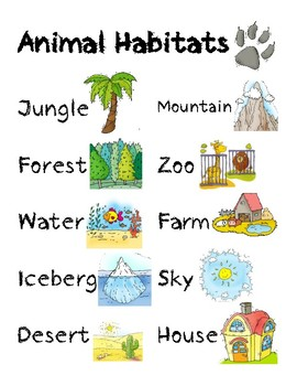 animal habitats worksheet by valerie 39 s gallery tpt. Black Bedroom Furniture Sets. Home Design Ideas