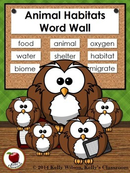 Animals Habitats Adaptations Vocabulary Word Wall