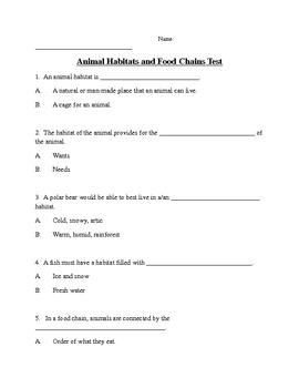 Animal Habitats and Food Chain Test
