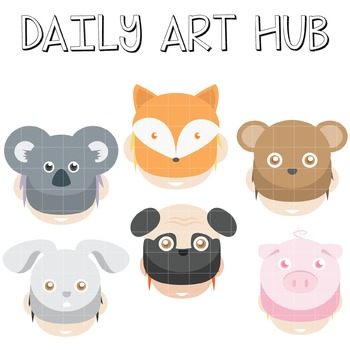 Animal Hats Clip Art - Great for Art Class Projects!