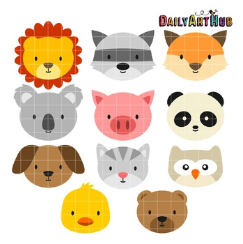 Animal Heads Clip Art - Great for Art Class Projects!