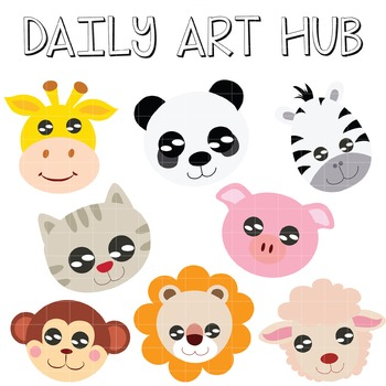 Animal Heads Clip Art - Great for Art Class Projects! Make Adorable Masks