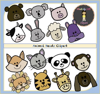 Animal Heads Clipart / Animal Clipart