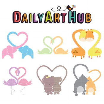 Animal Hearts Clip Art - Great for Art Class Projects!