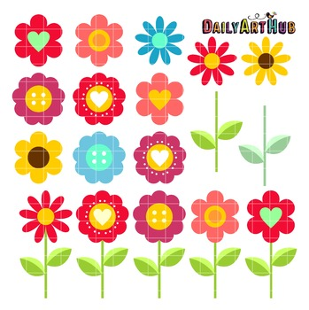 Flower Blooms Clip Art - Great for Art Class Projects!
