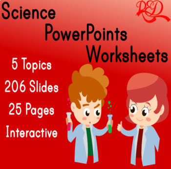 Interactive Science Powerpoint and Worksheet Bundle ❘ Leveled Reading ❘ 5 Topics