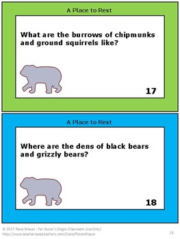 Animal Hibernation Task Card or Worksheet Activity