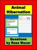 Animal Hibernation Task Card and Worksheet Activity