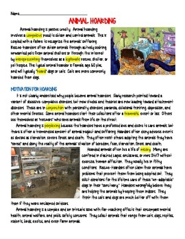 Animal Hoarding Informational Text Reading Comprehension
