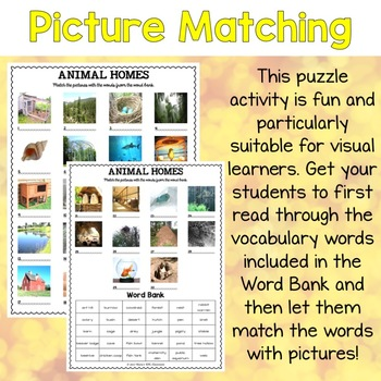 Animal Homes ESL Activities Picture and Definition Matching Puzzles