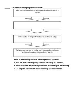 Animal Homes Open Book Comprehension Quiz